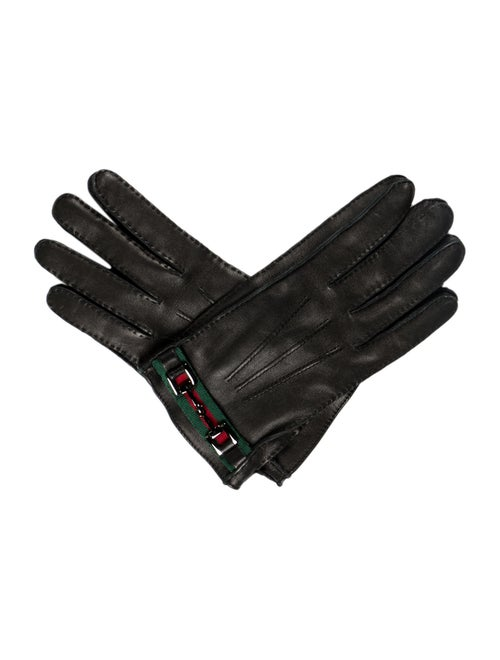 Gucci Leather Web Gloves Black