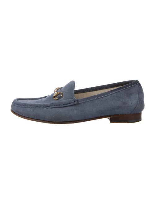Gucci Horsebit Accent Suede Loafers Blue