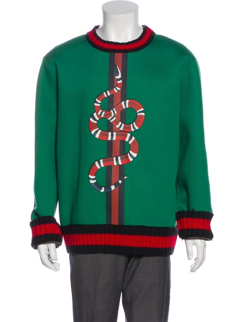 Gucci Kingsnake Graphic Print Pullover Green