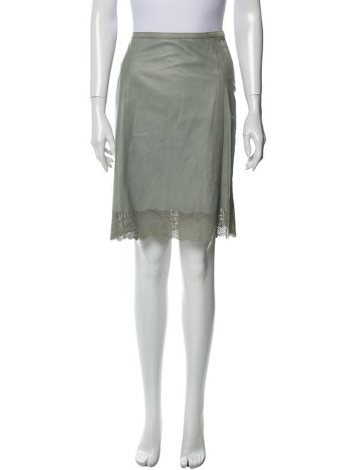 Gucci Leather Knee-Length Skirt Green