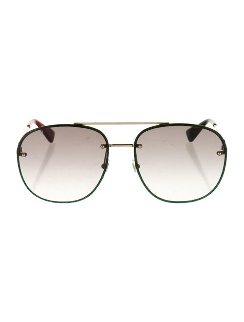 Gucci Glitter Aviator Sunglasses Green