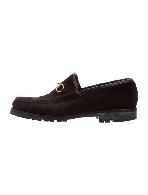 Gucci Horsebit Accent Suede Loafers Black