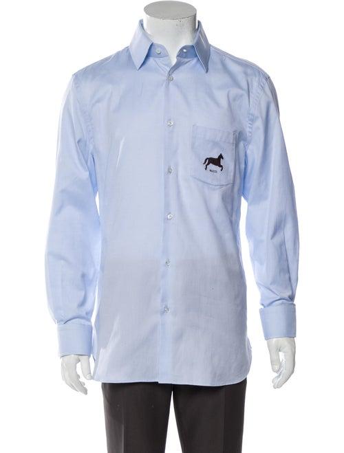 Gucci 2018 Horse Fil Coupé Dress Shirt Blue