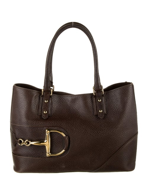Gucci Leather Hasler Tote Brown