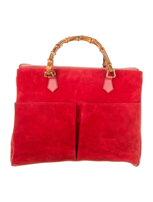 Gucci Vintage Bamboo Satchel Red