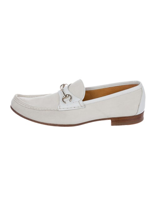 Gucci Horsebit Suede Loafers white