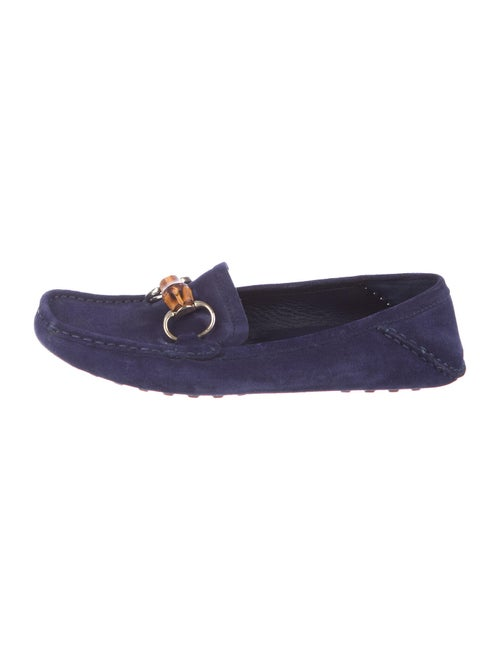 Gucci Bamboo Suede Loafers Blue