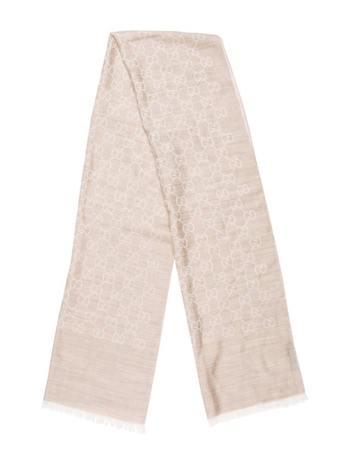 Gucci GG Wool-Silk Scarf Beige