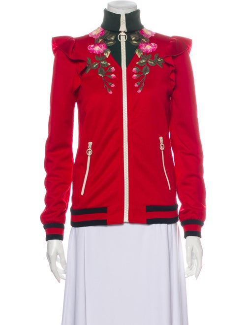 Gucci Floral Print Jacket Red