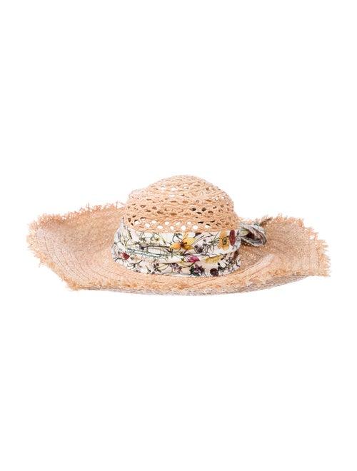 Gucci Raffia Floral Hat Tan