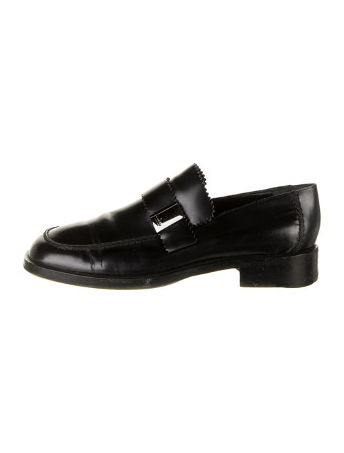 Gucci Leather Scalloped Accent Dress Loafers Black