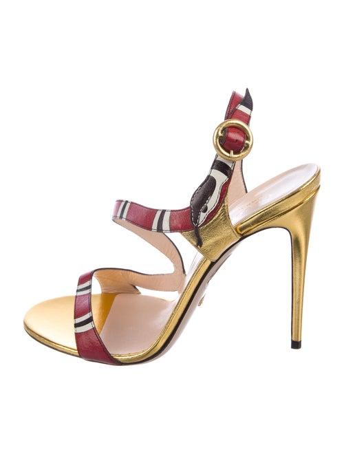 Gucci Kingsnake Leather Sandals Gold
