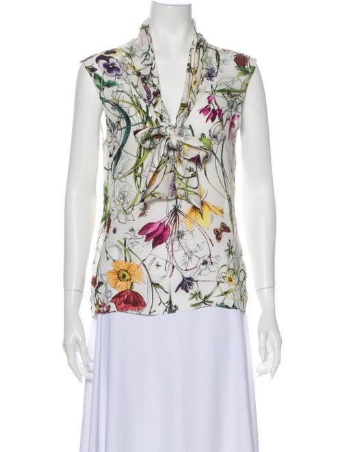Gucci Silk Floral Print Blouse White