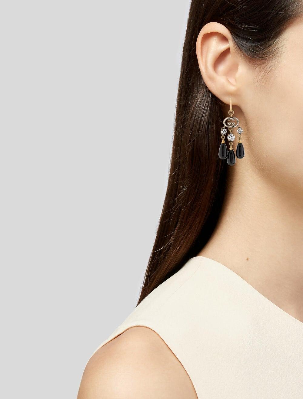 Gucci Interlocking G Crystal Chandelier Earrings … - image 2