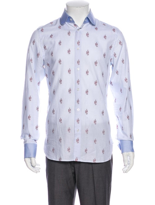 Gucci 2018 Printed Dress Shirt Blue