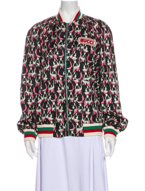 Gucci 2018 Gucci Velour Printed Bomber Jacket Bomb