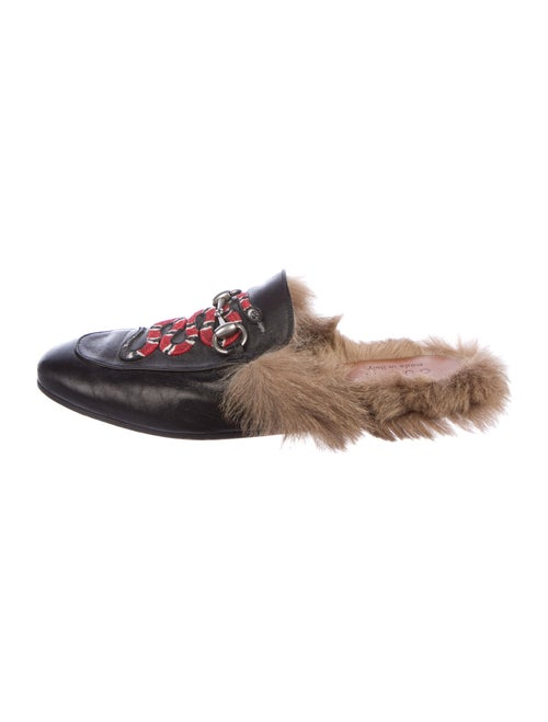 Gucci Princetown Fur Kingsnake Leather Slippers Bl