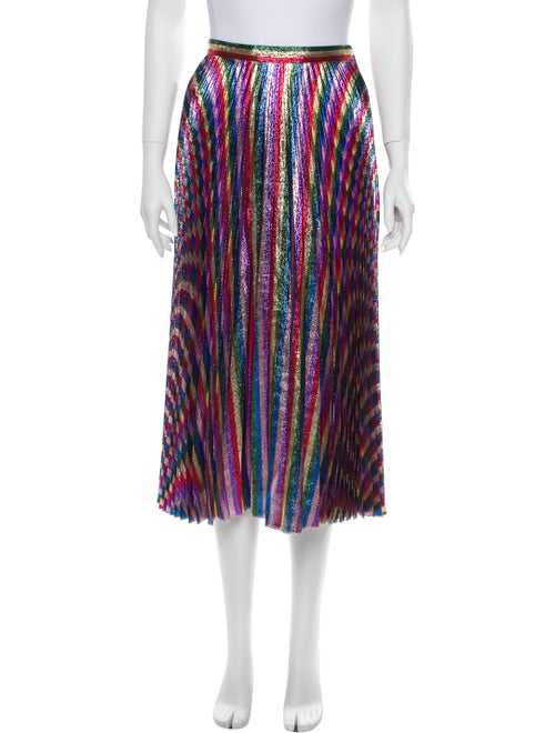 Gucci Striped Midi Length Skirt Metallic
