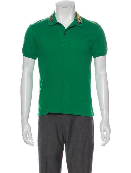 Gucci Tiger Graphic Print Polo Shirt Green