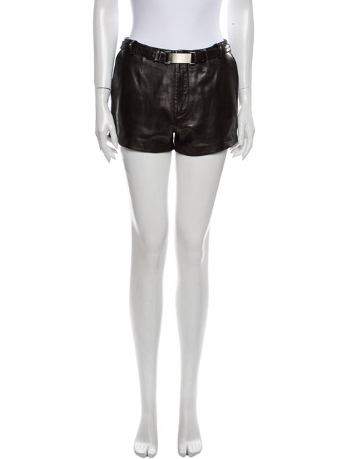 Gucci Leather Mini Shorts Brown