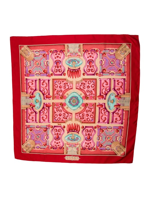 Gucci Silk Printed Scarf Red