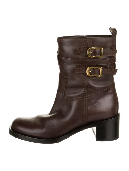 Gucci Leather Moto Boots Brown