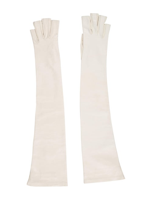 Gucci Leather Fingerless Gloves White