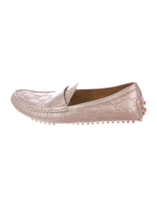 Gucci GG Logo Leather Loafers Pink