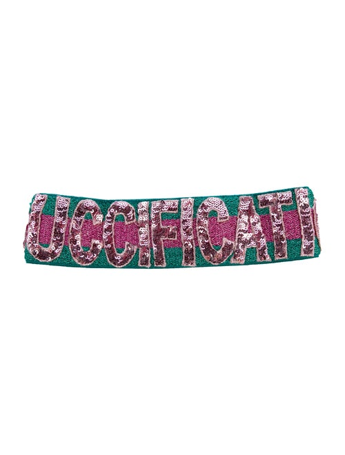 Gucci Guccification Sequinned Headband w/ Tags gre