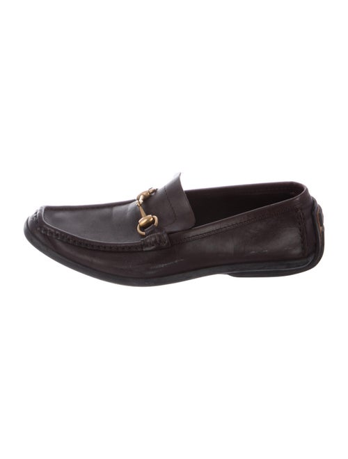 Gucci Horsebit Accent Leather Loafers Brown