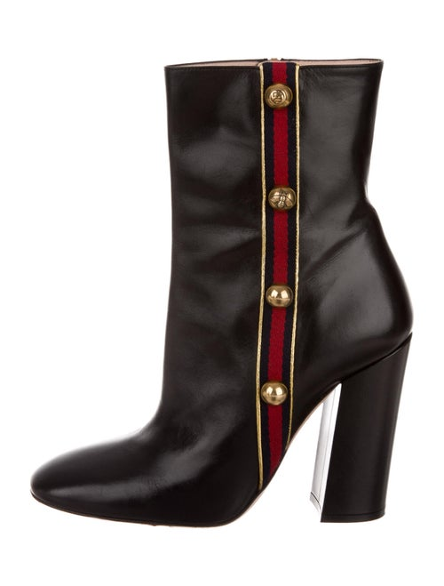 Gucci Leather Printed Boots Black