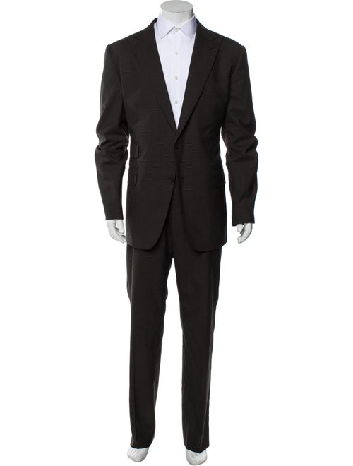 Gucci Wool Plaid Print Two-Piece Suit Wool