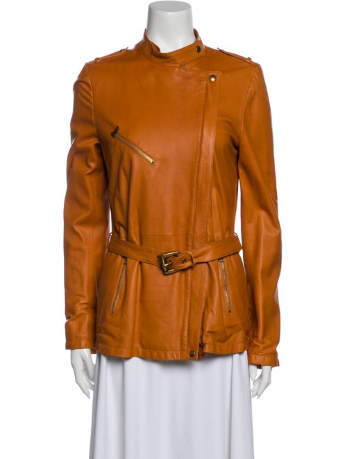 Gucci Leather Biker Jacket Orange