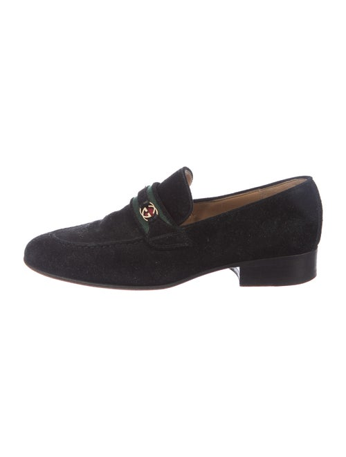 Gucci GG Canvas Suede Loafers Black