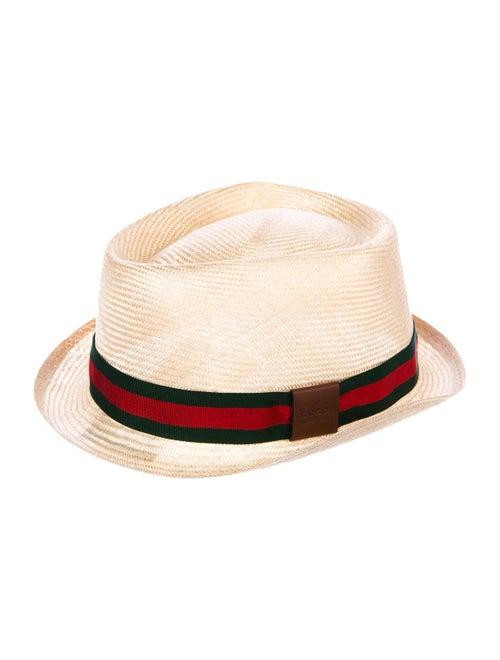 Gucci Raffia Web Fedora Hat Tan