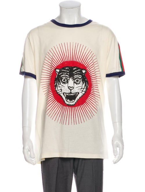 Gucci Cat Ringer Graphic Print T-Shirt