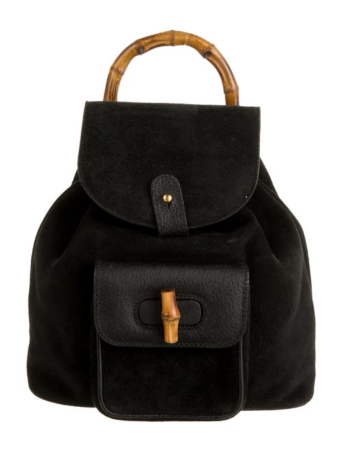 Gucci Vintage Suede Mini Bamboo Backpack Black