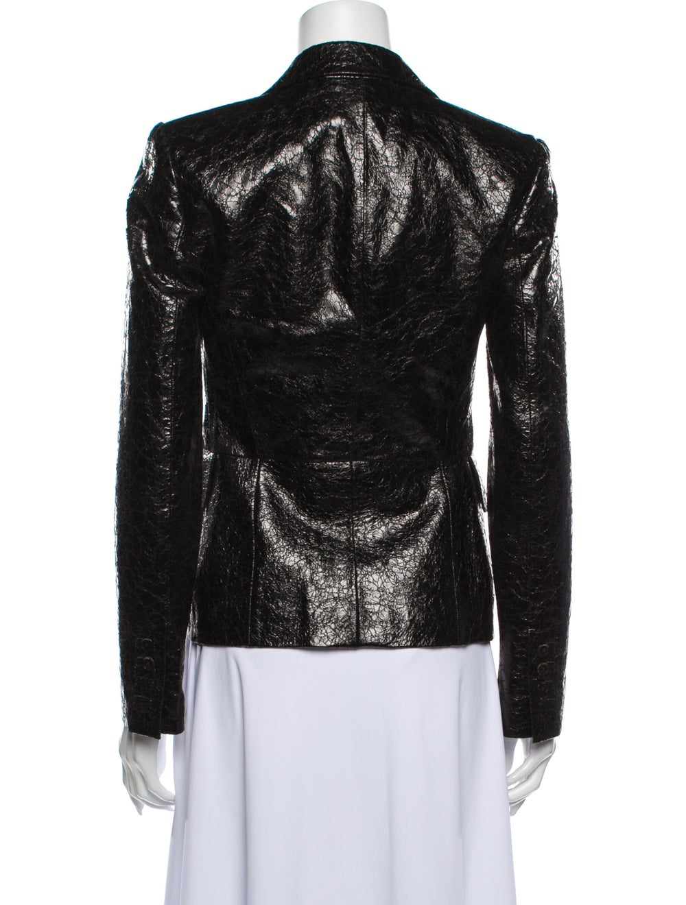 Gucci Leather Blazer Black - image 3