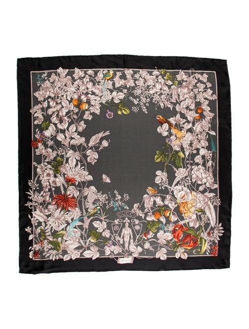 Gucci Flora Silk Scarf w/ Tags Black
