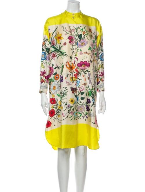 Gucci Printed Knee-Length Dress Yellow