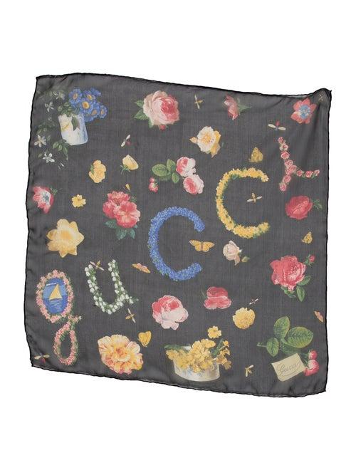 Gucci Floral Silk Scarf Black