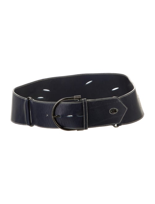 Gucci Embroidered Wide Belt Navy
