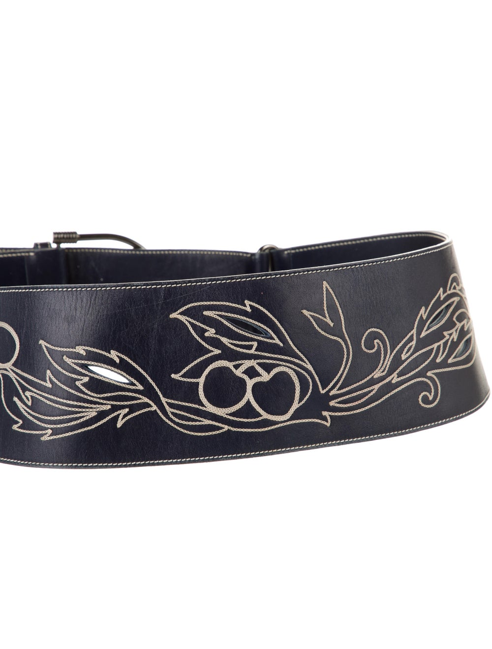 Gucci Embroidered Wide Belt Navy - image 2