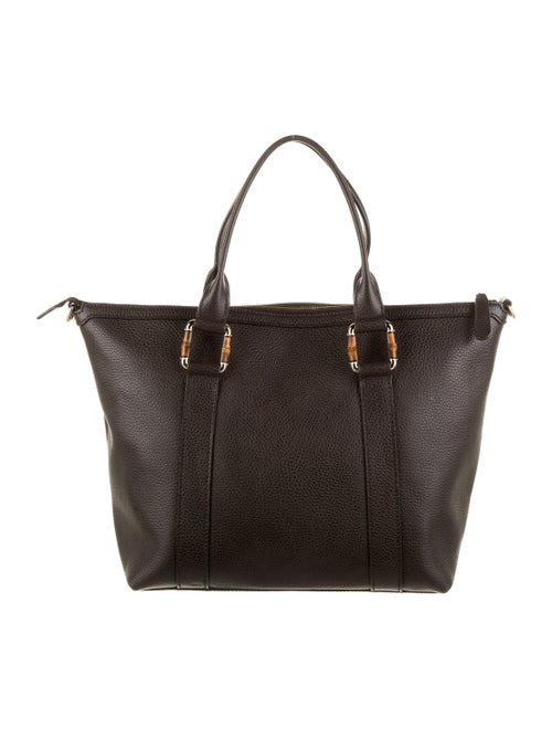 Gucci Leather Bamboo Bar Tote Brown