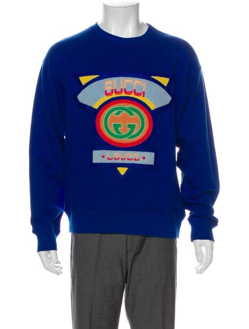 Gucci Flocked Crew Neck Sweatshirt Blue