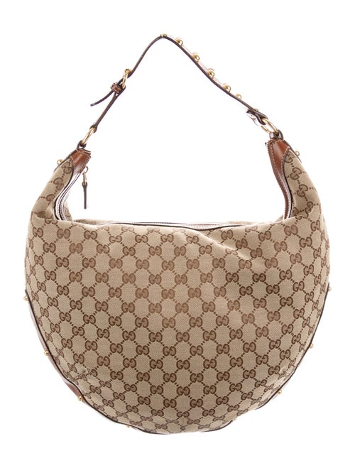 Gucci Studded GG Pelham Hobo Tan