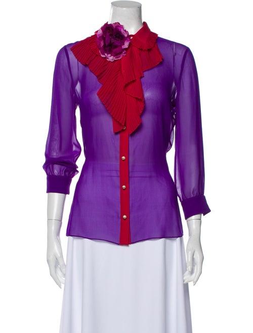 Gucci 2016 Silk Button-Up Top Purple