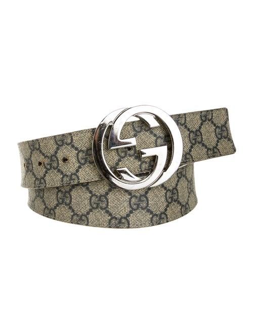 Gucci GG Supreme Leather-Trimmed Belt navy