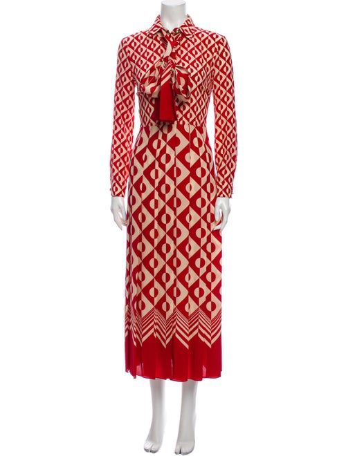 Gucci Silk Long Dress Red