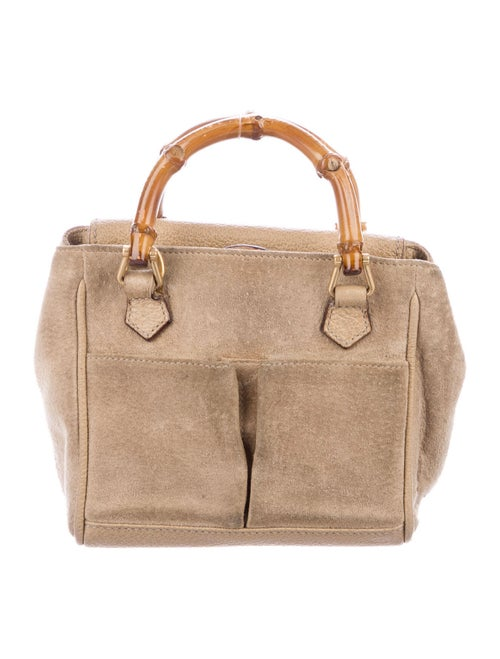 Gucci Vintage Mini Suede Bamboo Bag gold